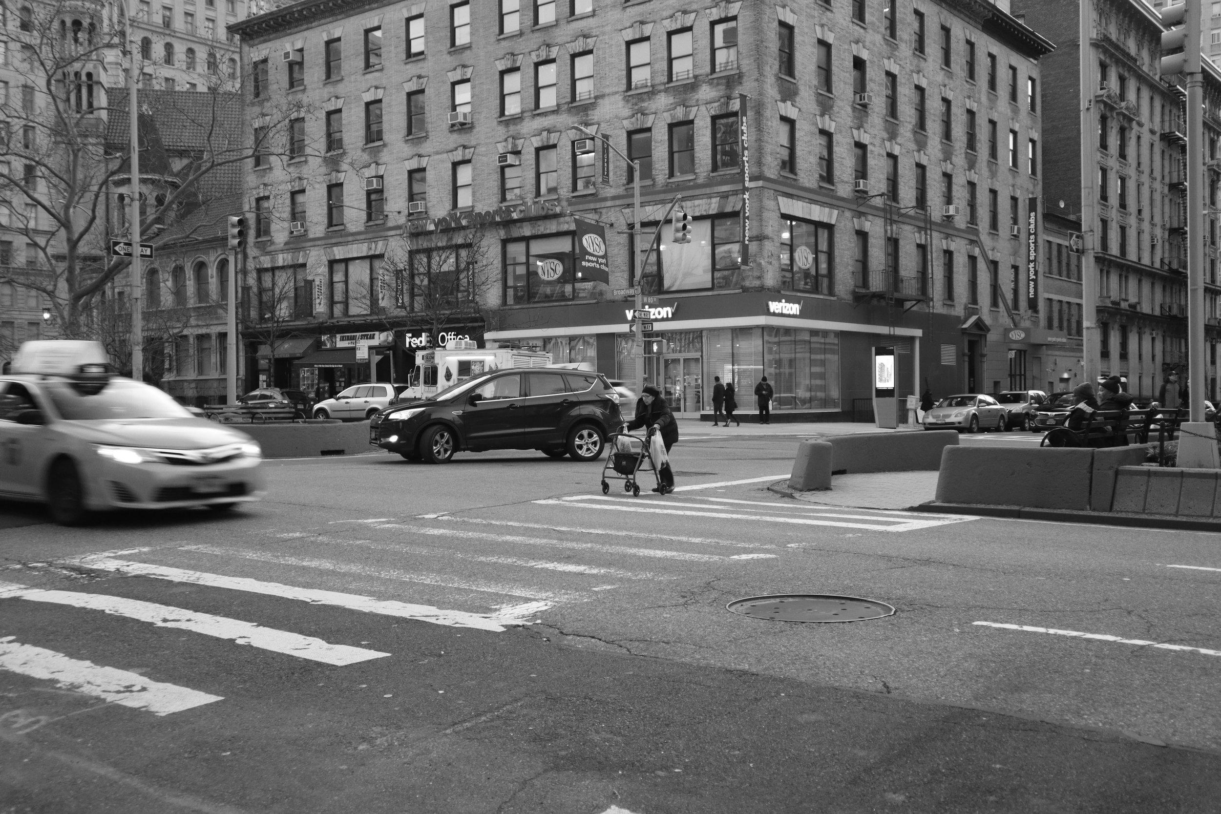 Crossing Broadway in New York