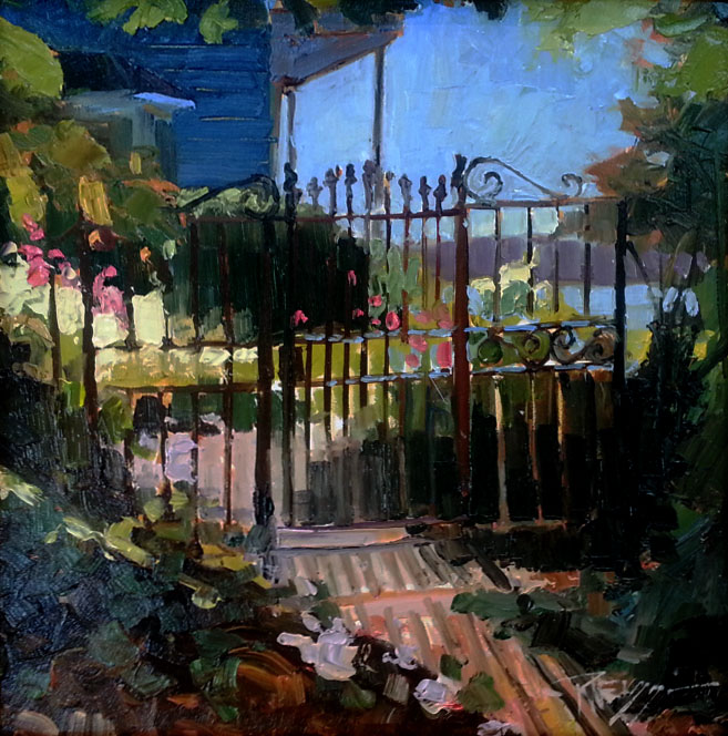 Garden Gate, Oil on Board - Robin Weiss