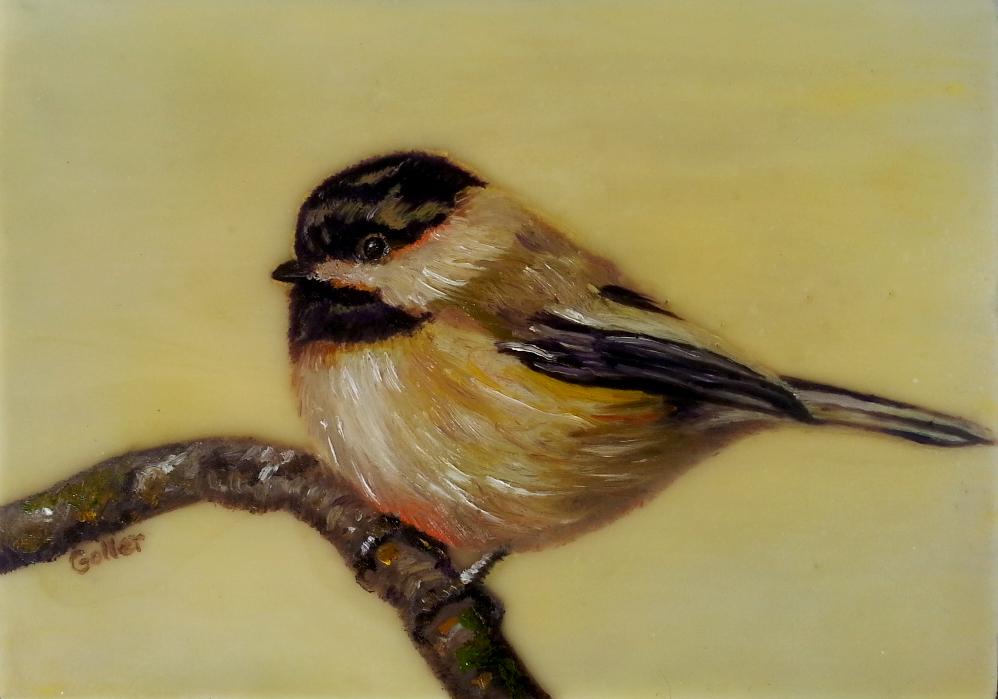 Chickadee II, oil/encaustic on wood block 5x7(Bainbridge Island Museum of Art Gallery Gift Store)