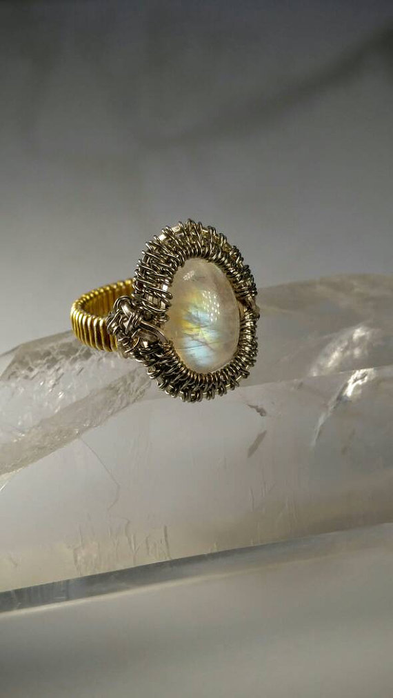 moonstone wire ring