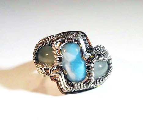 Size 6.5  Wire Wrapped Ring  Larimar in .925 Sterling Silver and 14k Gold Wire  Oxidized  Handmade One of a Kind Ring