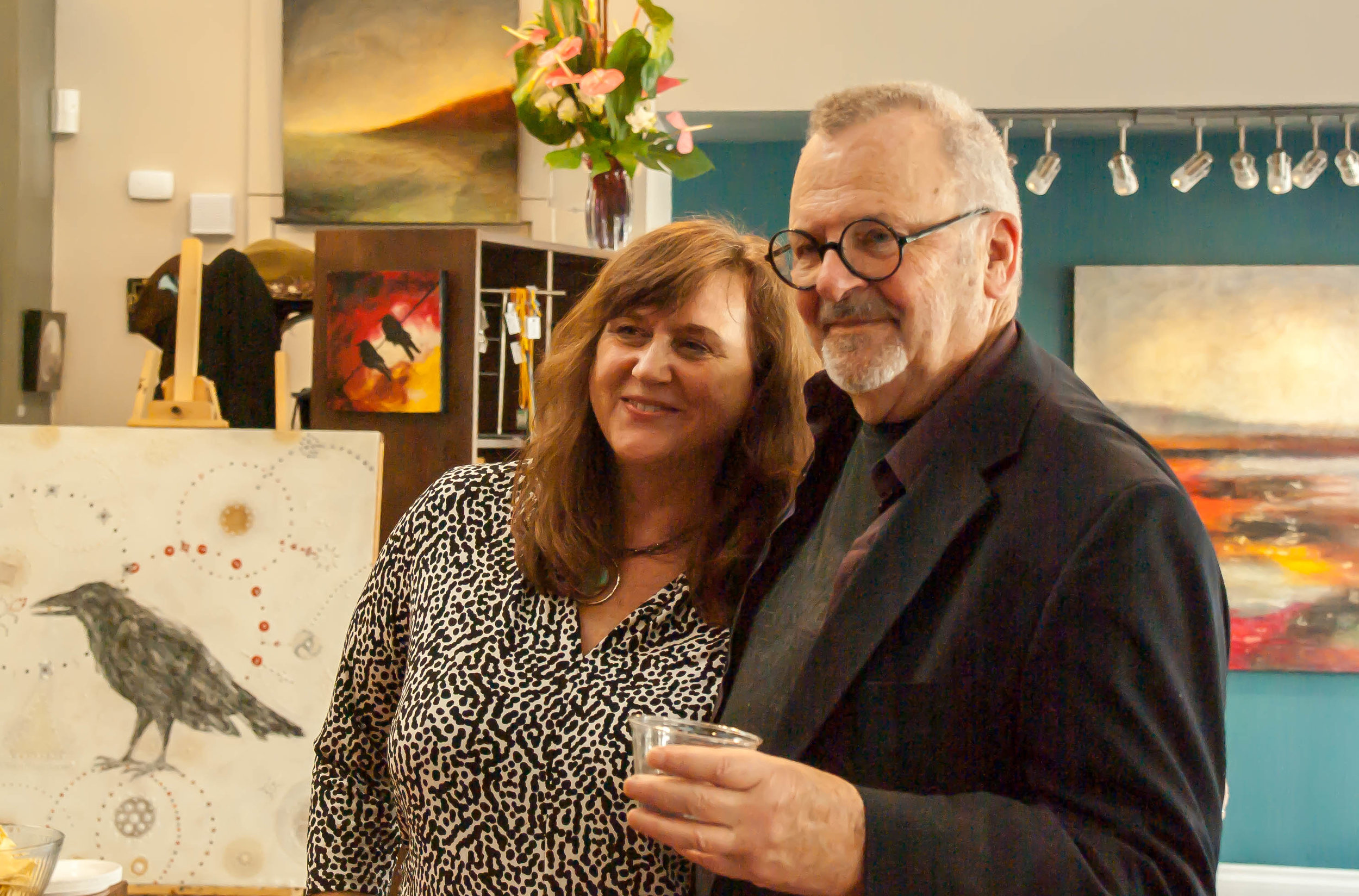 Artists Carrie Goller and Max Hayslette at Carrie Goller Gallery April 2014 ArtWalk