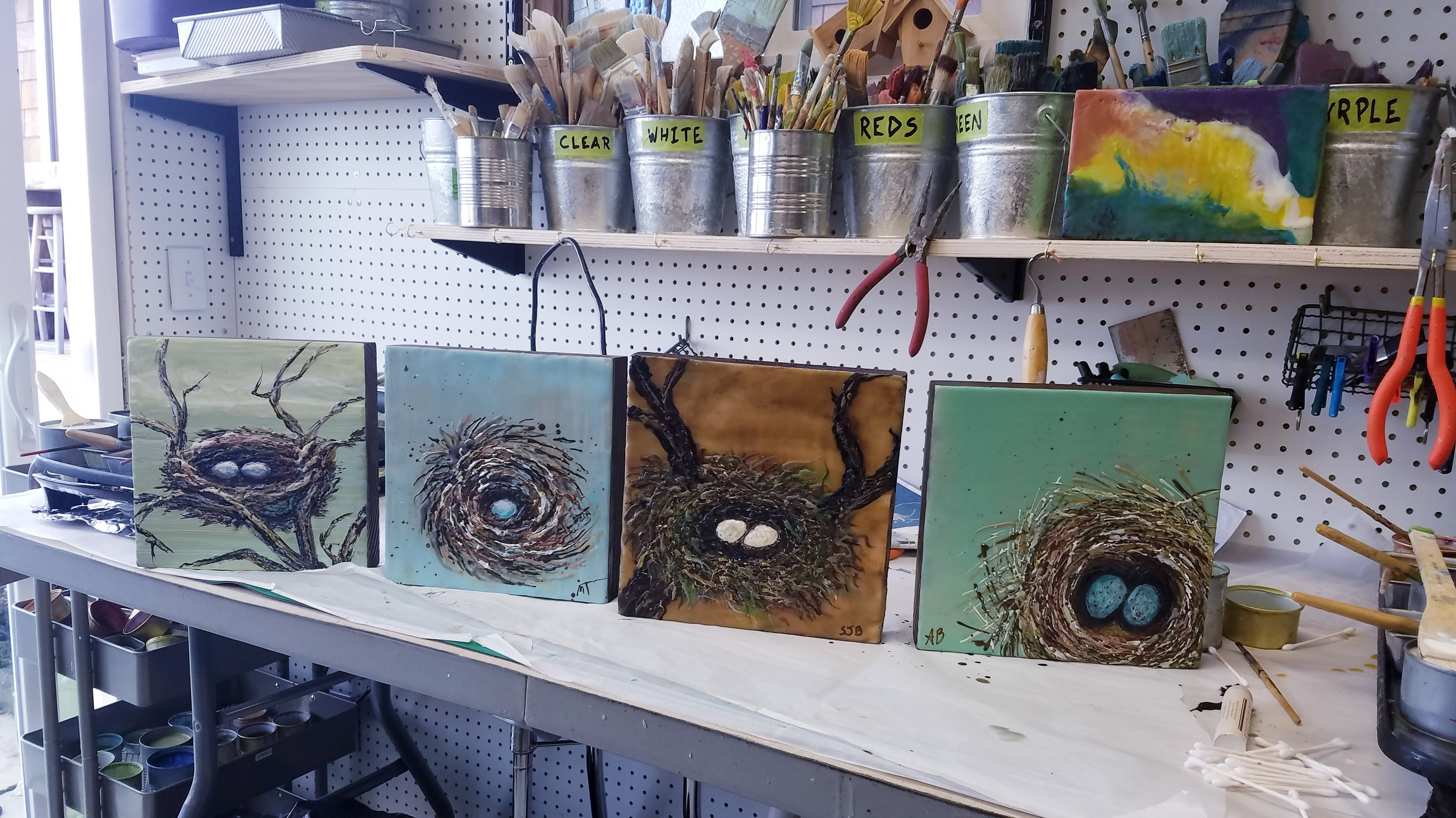 The results of a recent encaustic nest painting class for four…