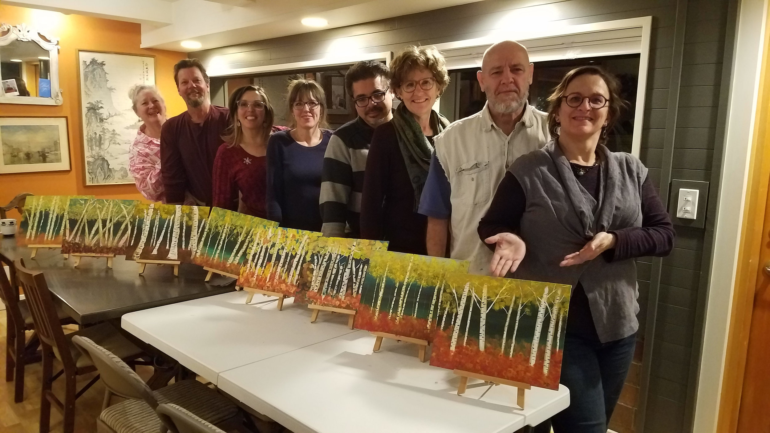 Is there other instruction you are interested in, besides encaustic? Carrie has also given the occasional event class on location, such as this holiday party acrylic paint class for a design/architect firm.