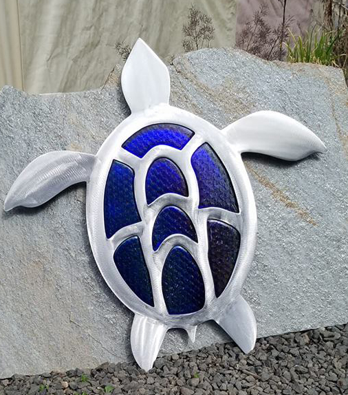 Cobalt Glass and Stainless Steel Turtle Wall Sculpture