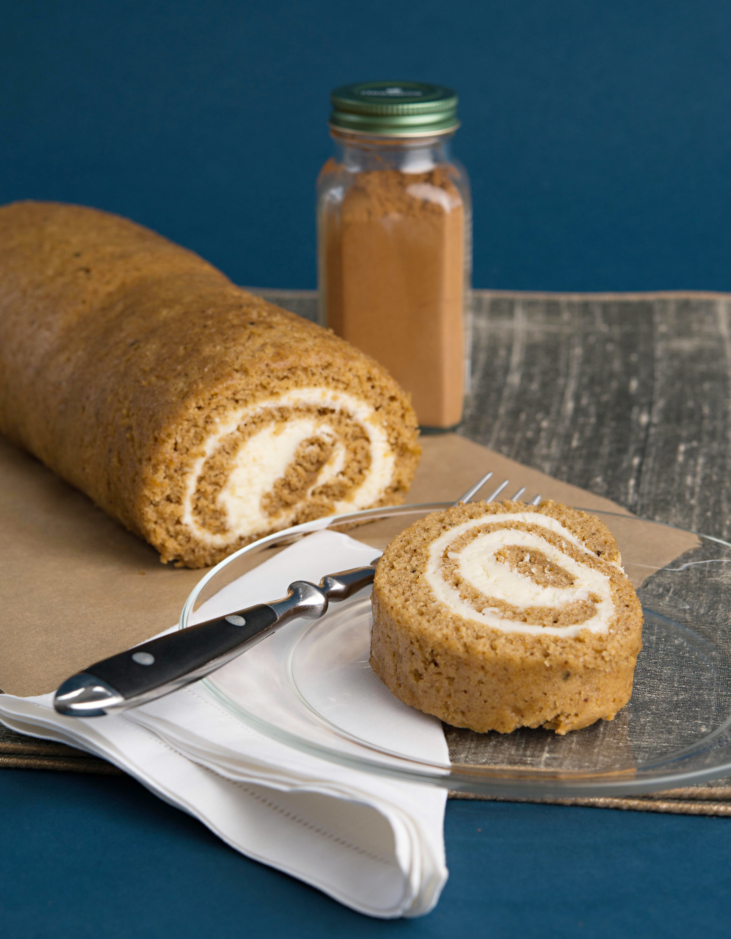 Pumpkin roll up cake   with autumn spice      cream filling