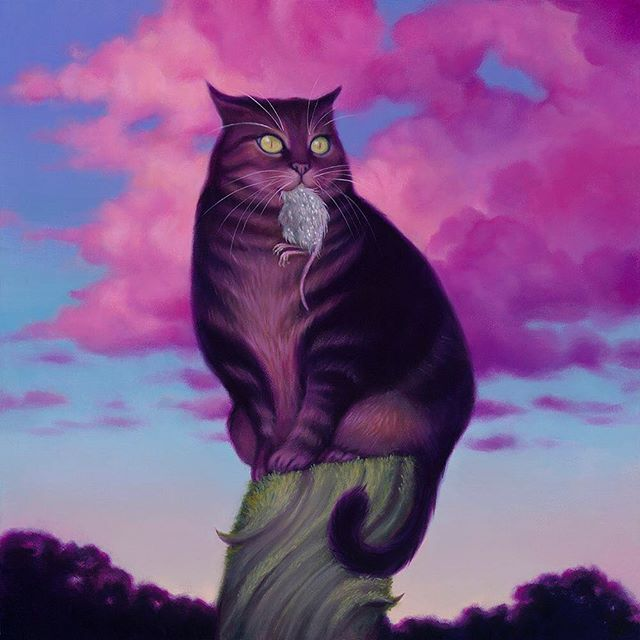 """Thirster"" - 12x12"" oil on wood. One of the pieces for my upcoming show ""Dear Illusions"" later this week at @havengallery 🖤 Please email info@havenartgallery.com if you'd like to see a preview of the show or inquire about availability! . . . .  #sydbee #sydbeeart #fatcat  #DearIllusions #soloshow #havengallery #spring2019 #originalpainting #oilpainting #wip #beautifulbizarre  #artistsoninstagram #instaart #art"