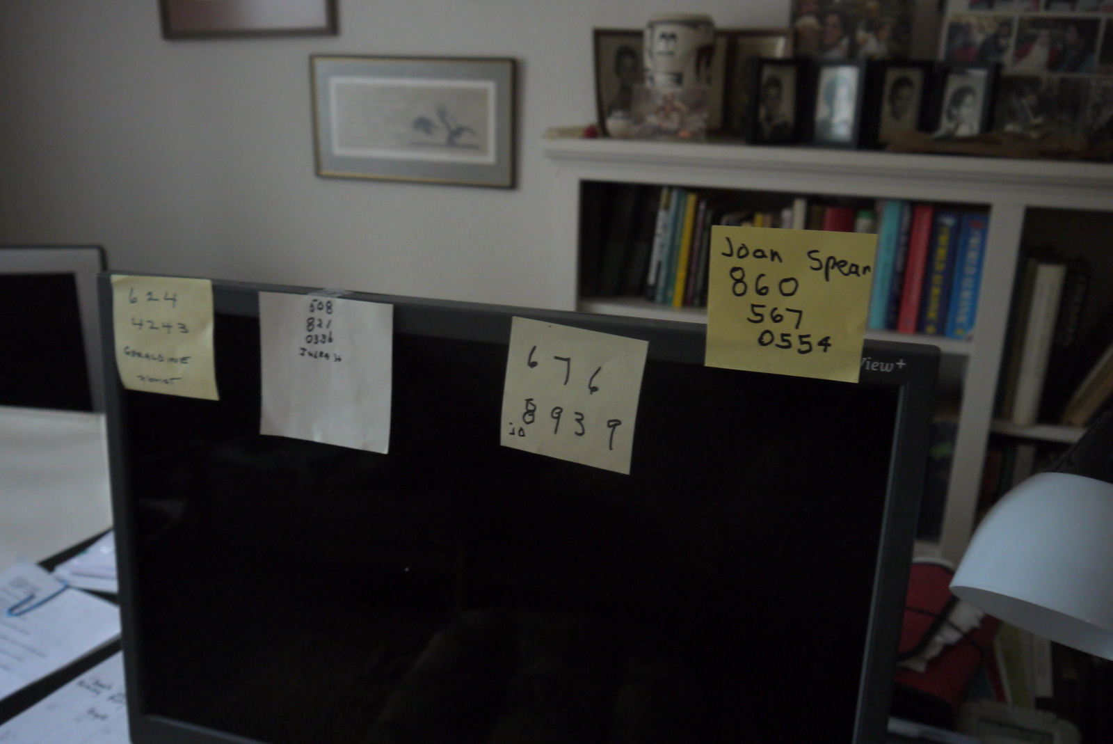 She wrote these four numbers in four different handwritings on four different post-its. We had a great time meeting. We took a tour of her full-of-books house and she would make funny faces to express exasperation at this and that.