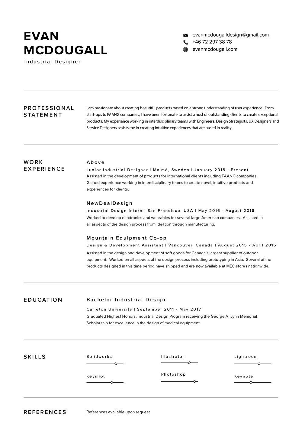 freelance industrial designer resume