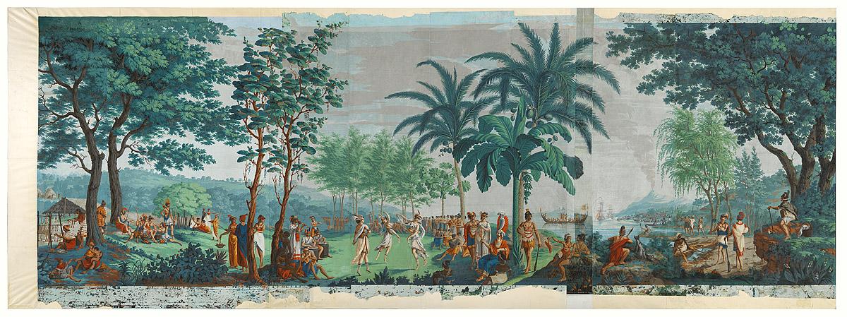 Les Sauvages de la Mer Pacifique (The native peoples of the Pacific Ocean)   ,  1804-5, Mâcon, by Mr Jean-Gabriel Charvet, Mr Joseph Dufour. Purchased 2015 with Charles Disney Art Trust funds. Te Papa (2015-0048-1) - Drops 1 - 10
