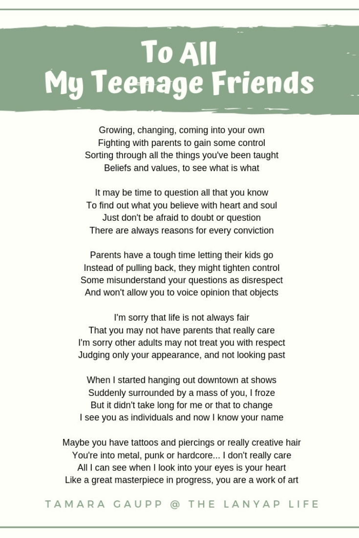 To All My Teenage Friends-Poem