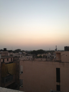 The view from the rooftop at Grace Home in Saket, Delhi. Qutab Minar is in the distance. The huge round, red sun sets on the horizon makes for a stunning evening with a cold beer up on the roof.