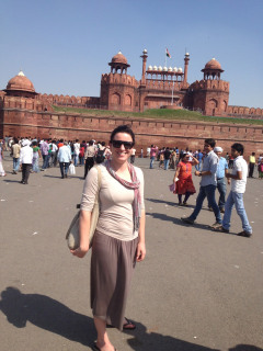 At the Red Fort in Old Delhi. We were asked for photos here because of our light skin which is considered beautiful in India.