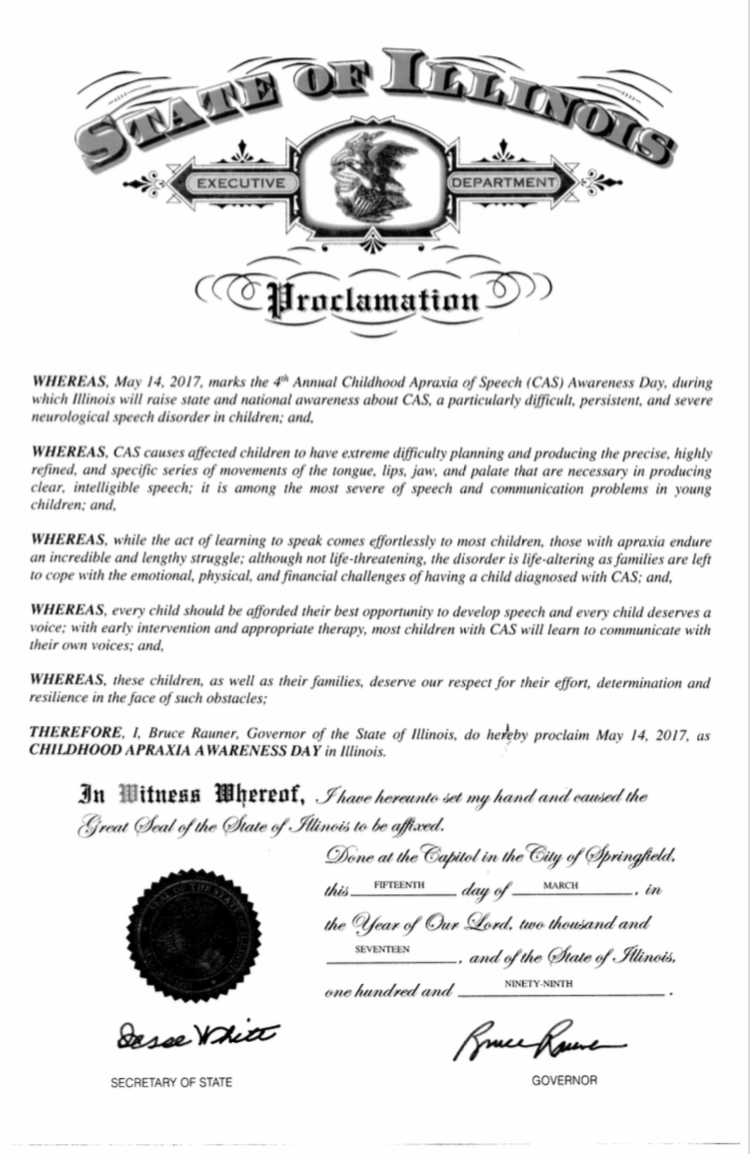 State of Illinois Apraxia Awareness Day Proclamation 2017