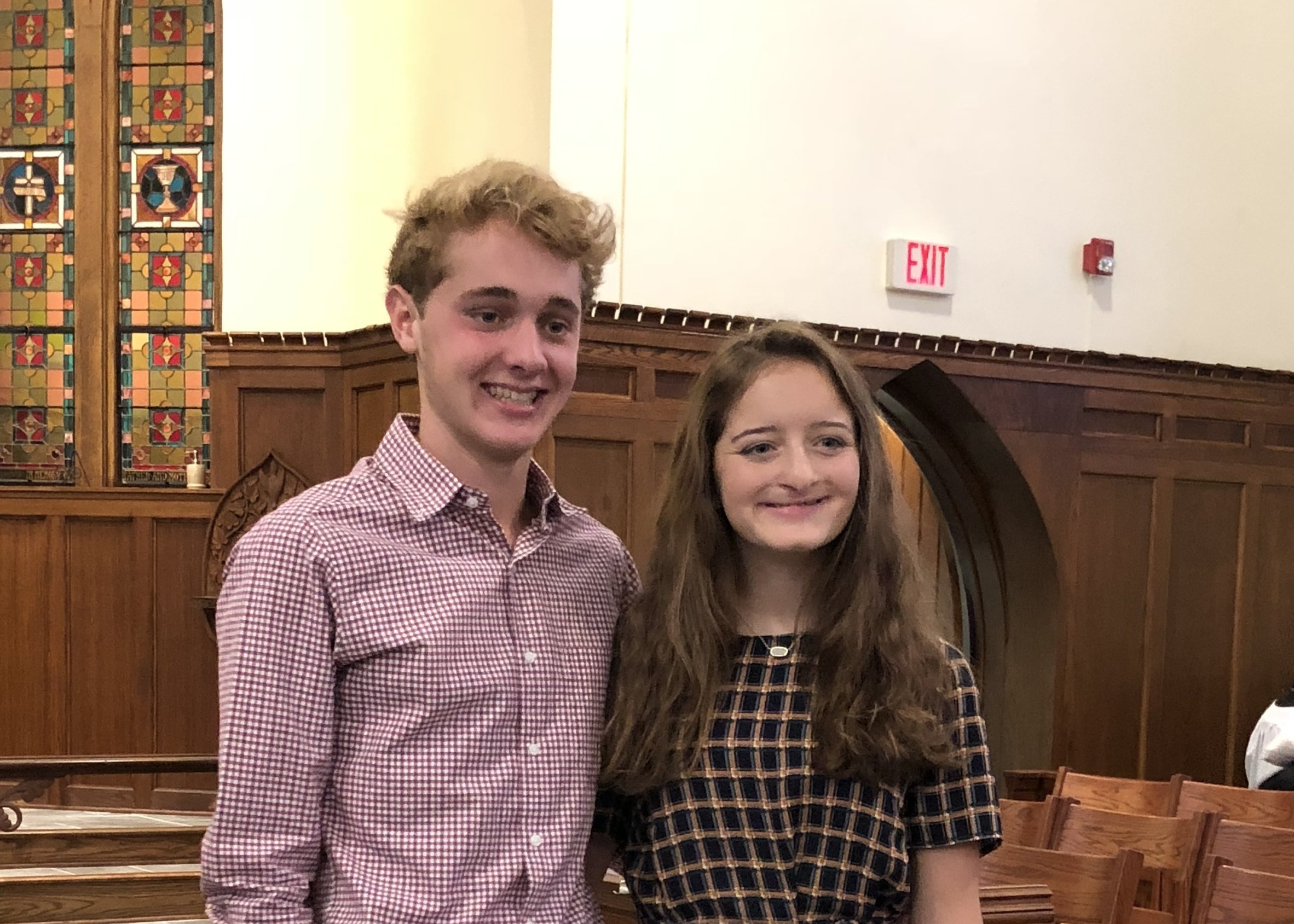 Harry Shook (right) and his sister Frances after their Confirmation at St. John's on Sunday, October 7th, 2018.