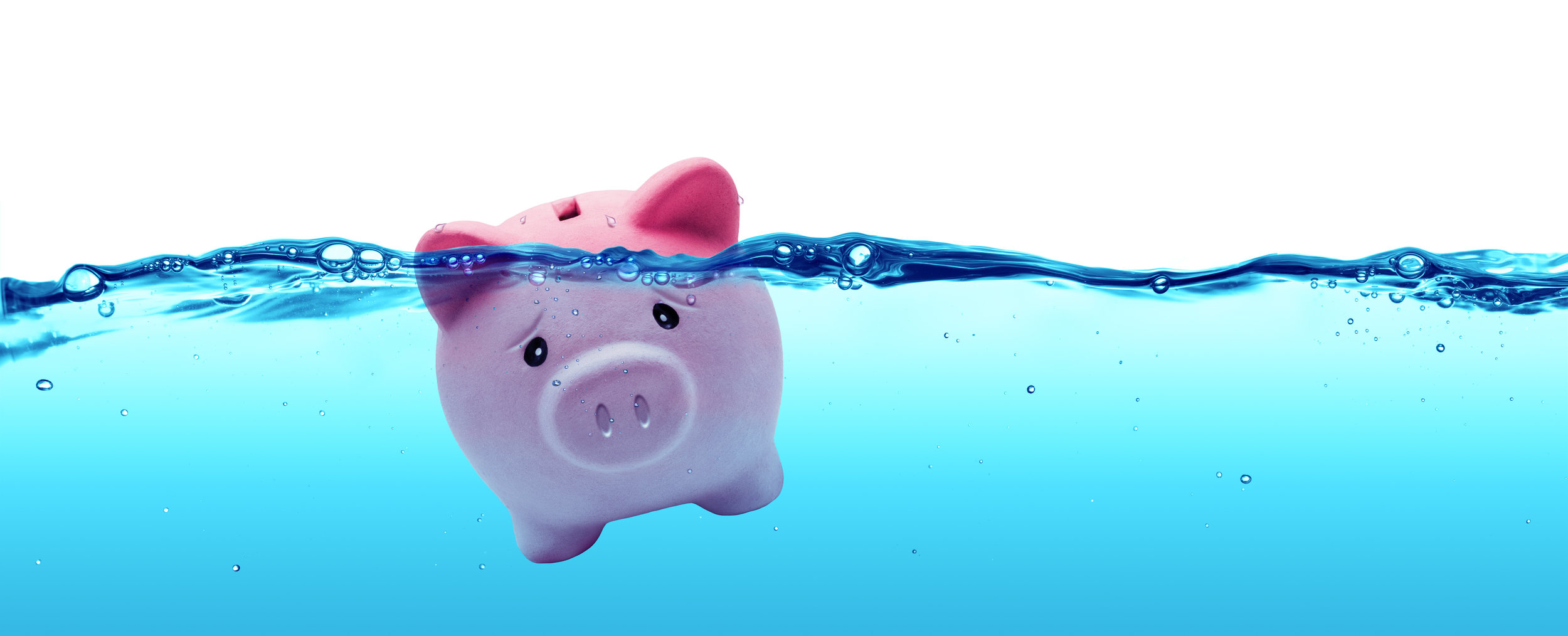 Image: A piggy bank drowning.