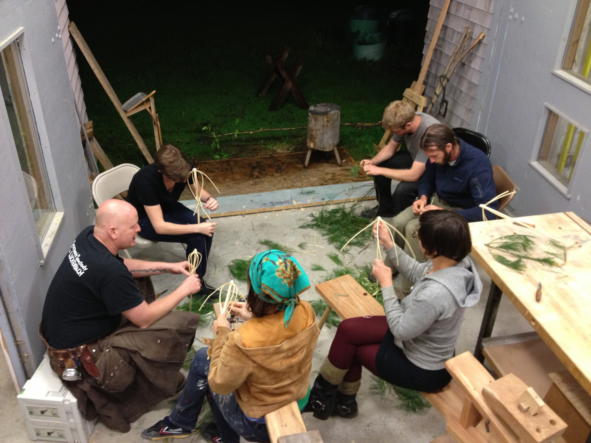 Making whisks out of spruce tops at Yestermorrow in Vermont the first night of class