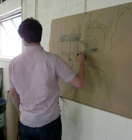 Charles Vinz sketching(photo by Sara Black)
