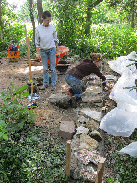 Stones collected from a local quarry created the stem wall(photo by Sara Black)