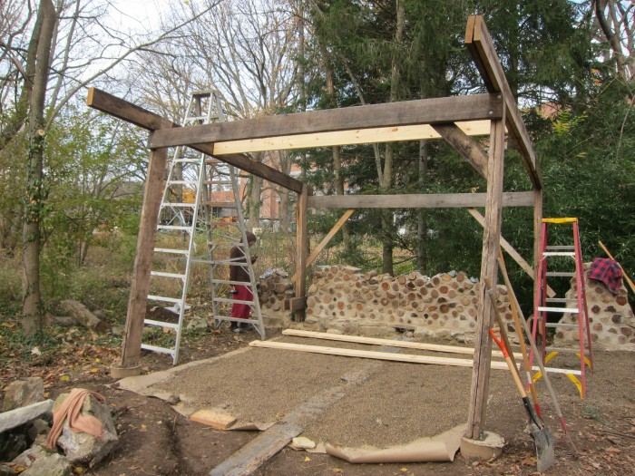 Laying the foundation for the stone floor(photo by Charles Vinz)