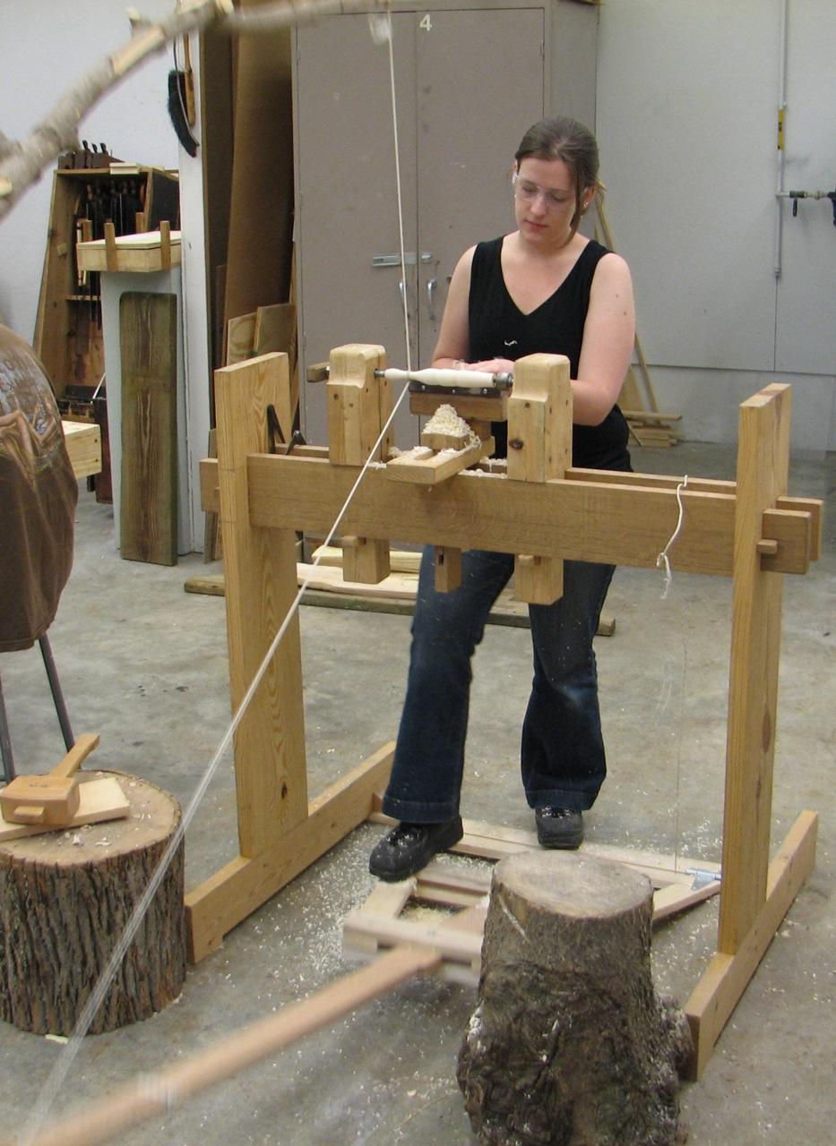 LIsa Wilson on the spring pole lathe, CraftSummer 2010