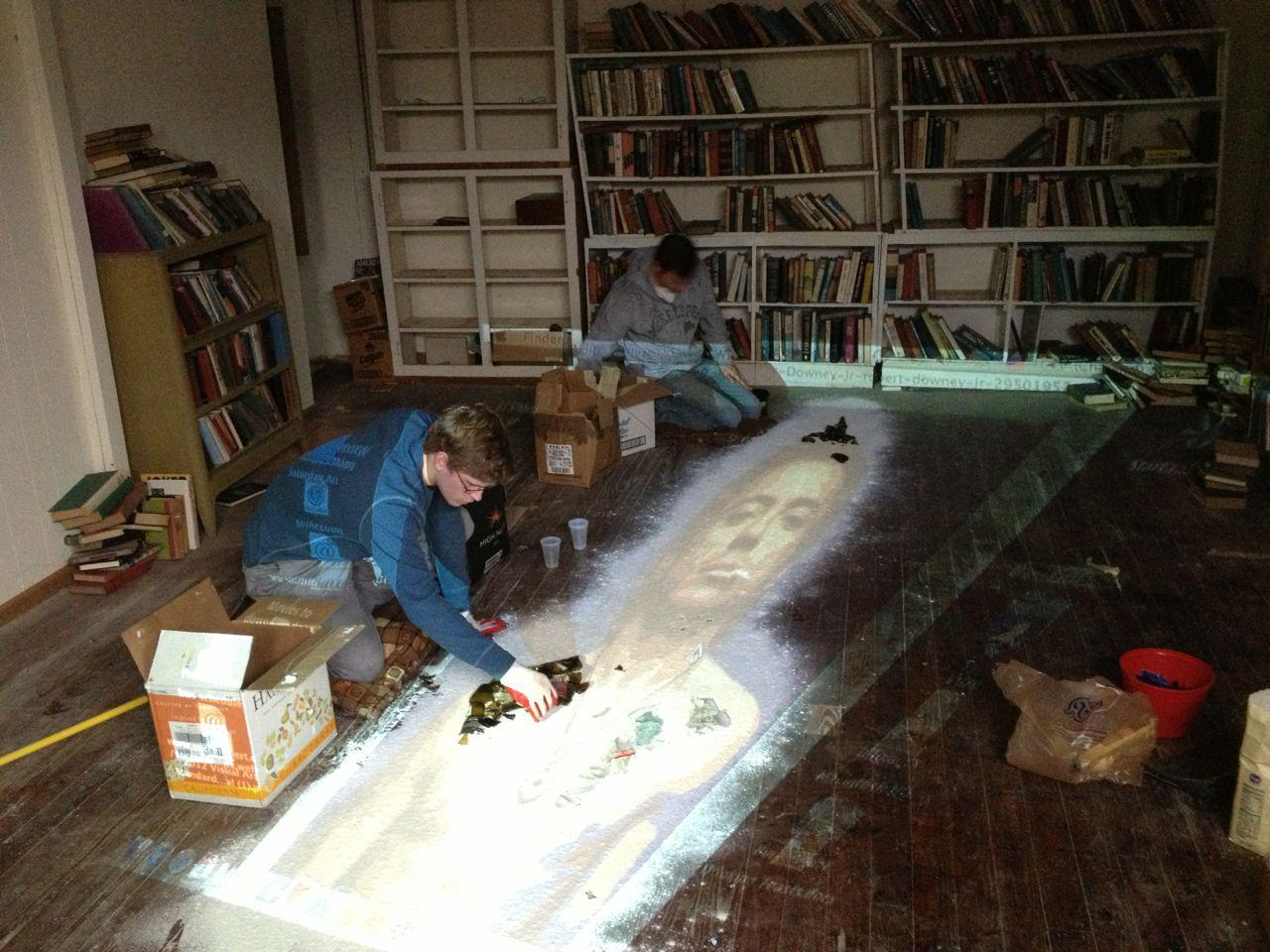 Sam Engel and Joseph Harris working on their installation