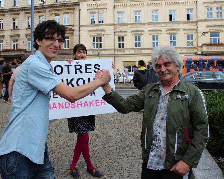 "The ""Handshake Master"" team in Plzen"