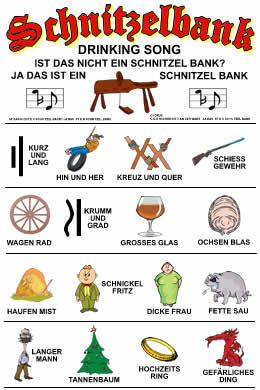one of many versions of the schnitzelbank (shaving horse) song