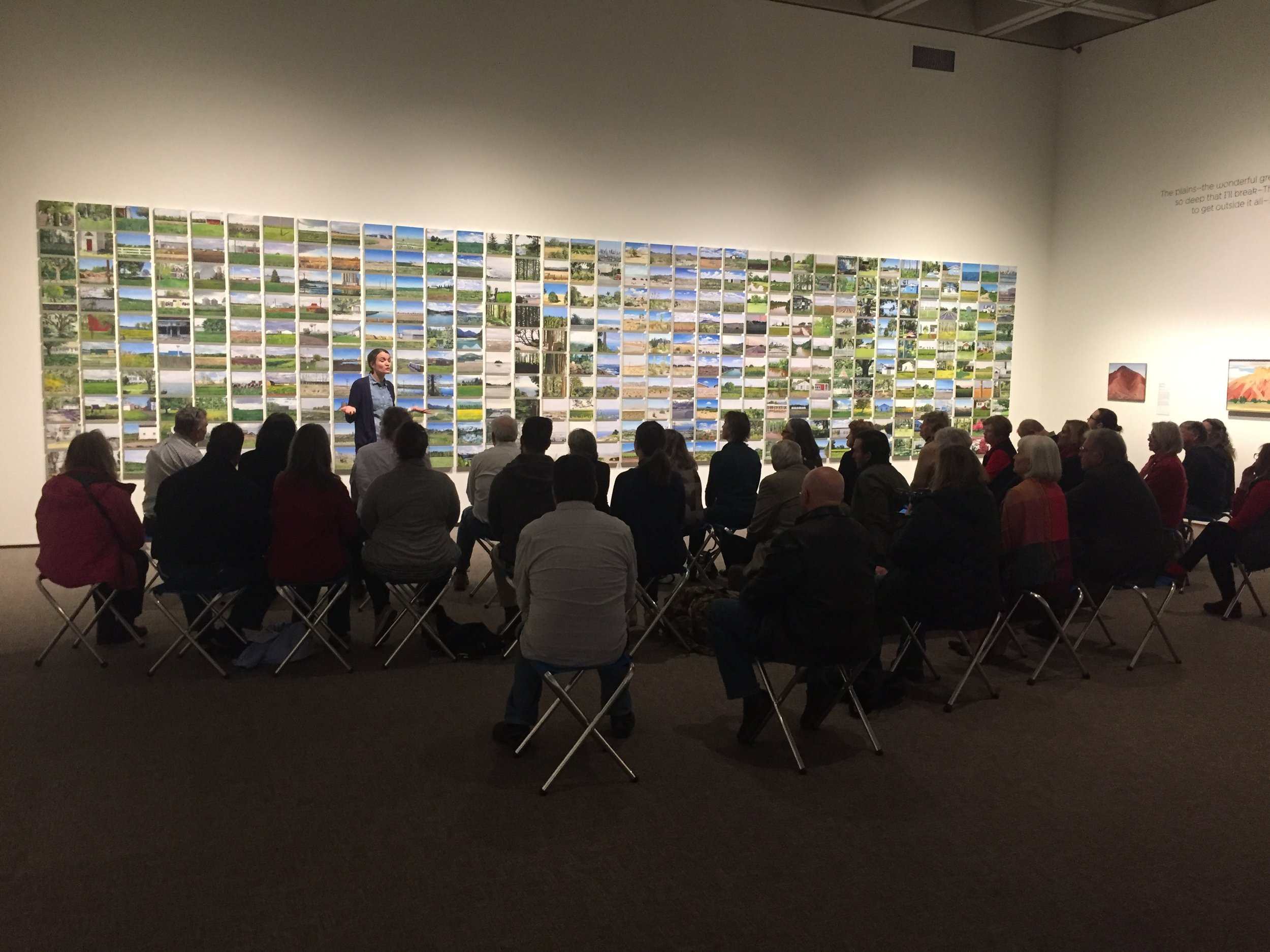 An artist talk  in the galleries.