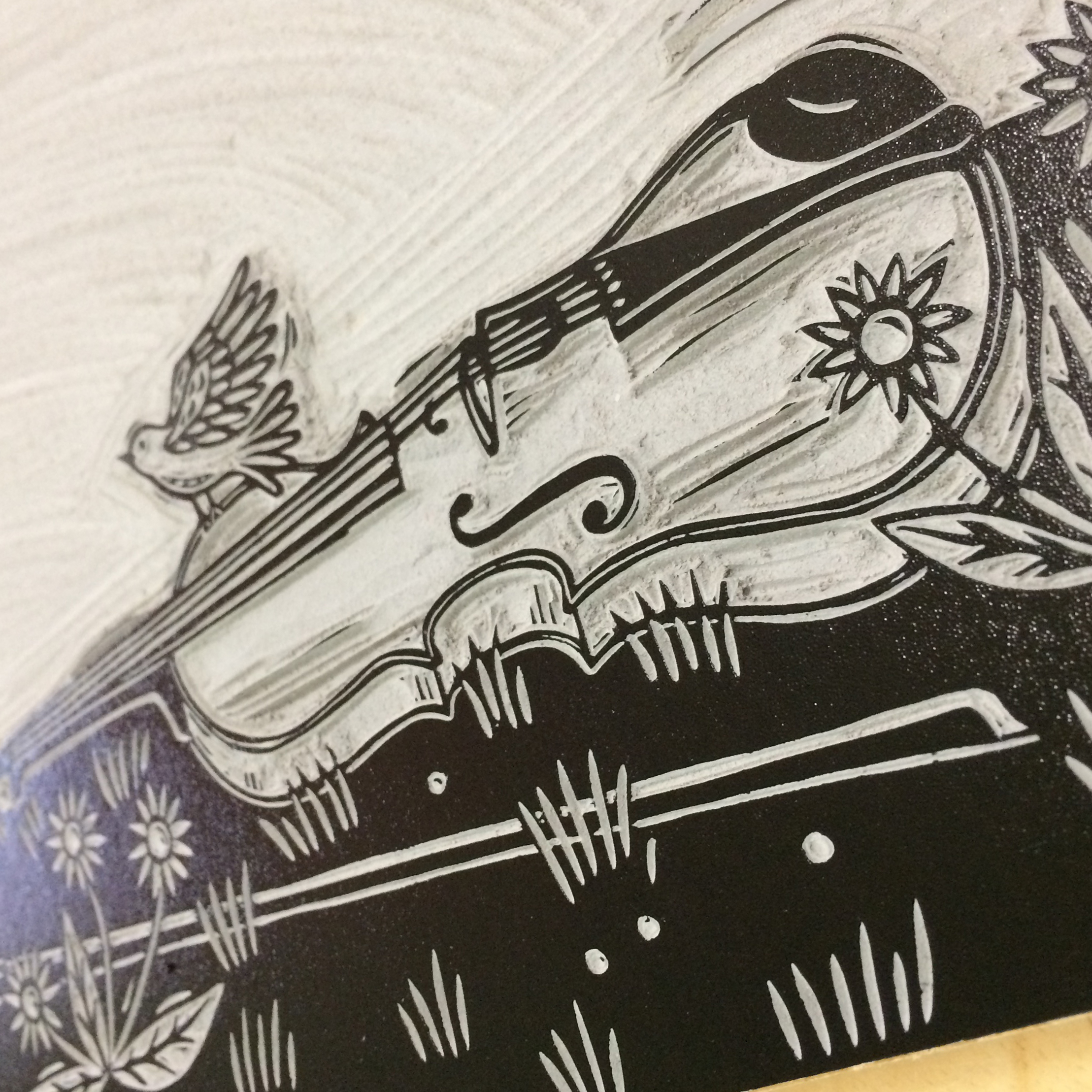 Linocut with Viola