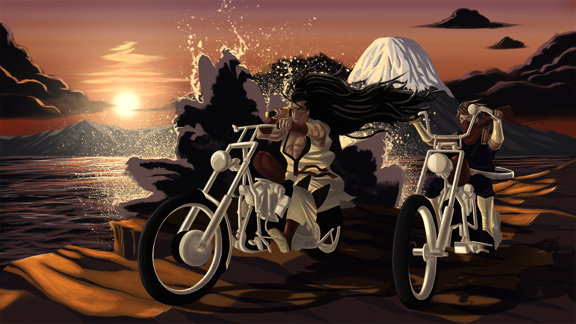 Haramorhu from Samurai Shodown and Strider from Strider riding their hogs like the iconic film, Easy Rider. Originally done as a gift for a friend.  Print available.  Email order at travisbolek@gmail.com