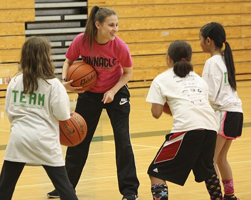 ASHLEY GRAHAM   Coach Ashley is a former NCAA Division I and professional basketball player who holds the Guinness World Record for most free throws in a minute. She now runs Pinnacle Hoops, offering training and clinics for women and girls in the US, as well as all over the world.