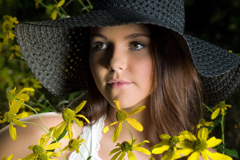 Daisy Fields.  Hats.  Senior Photo