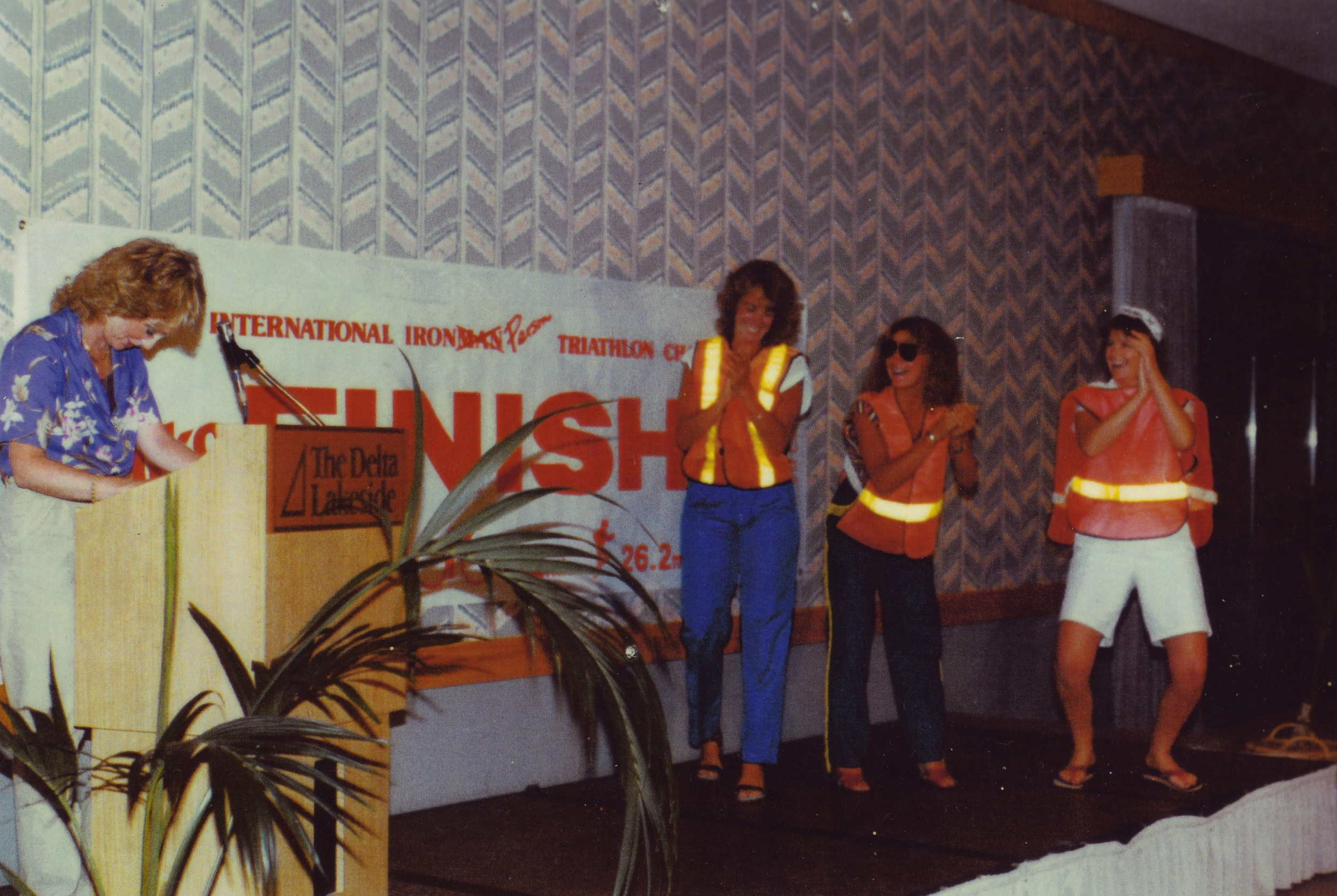 L to R: Lynn Van Dove with three of her race captains, Jane Drapeau, Sybilla Bartram and Deb Miller (1983).