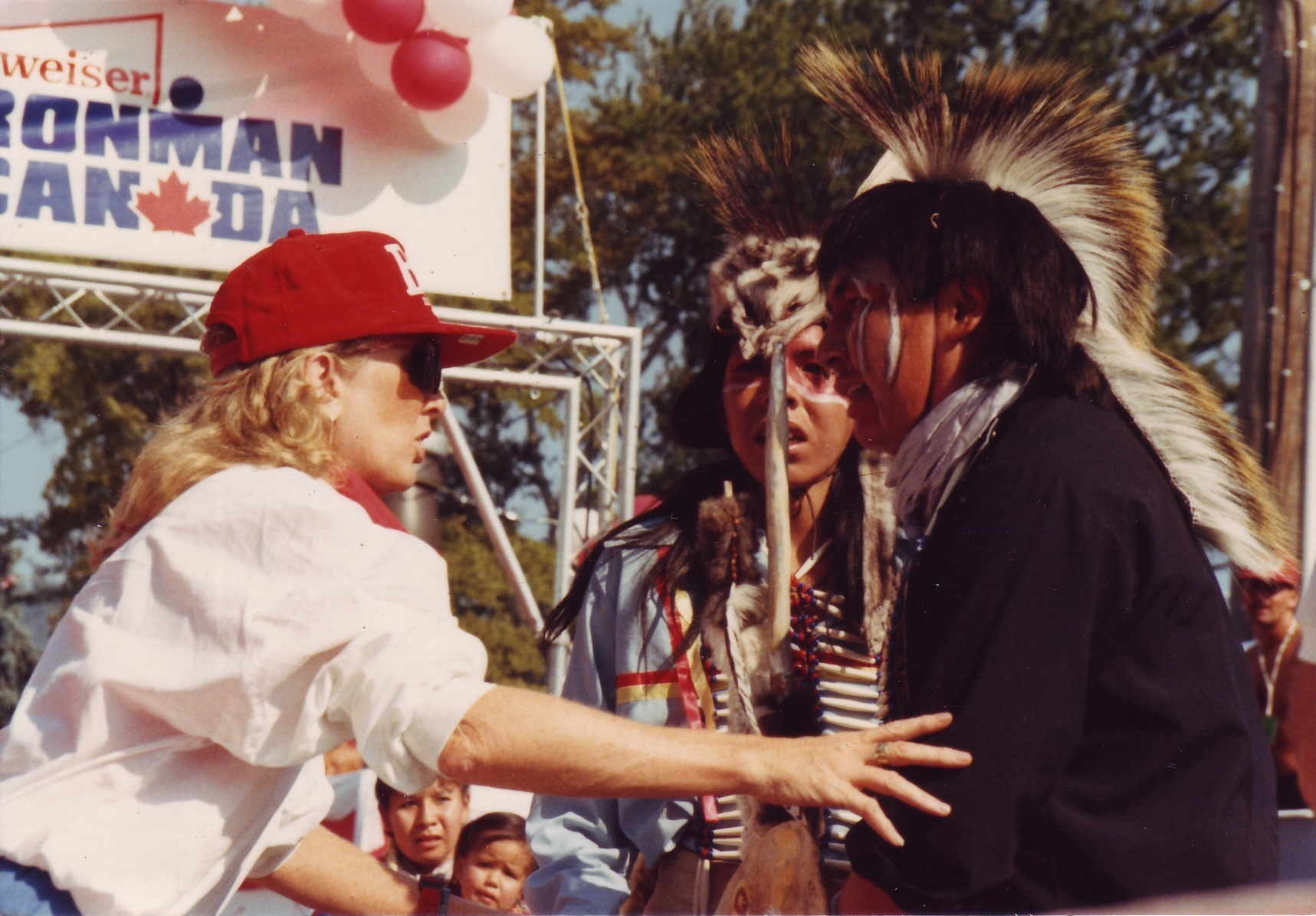 Lynn Van Dove directs aboriginal dancers at Ironman Canada