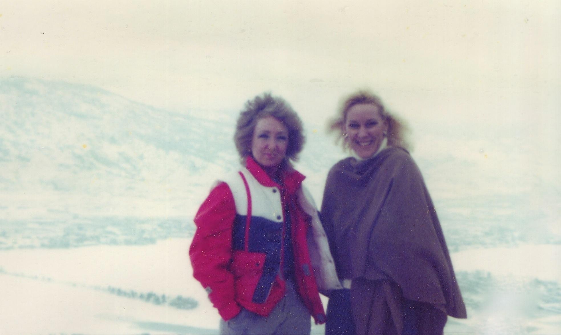 Lynn Van Dove and Valerie Silk on Richter Pass, January 1986.