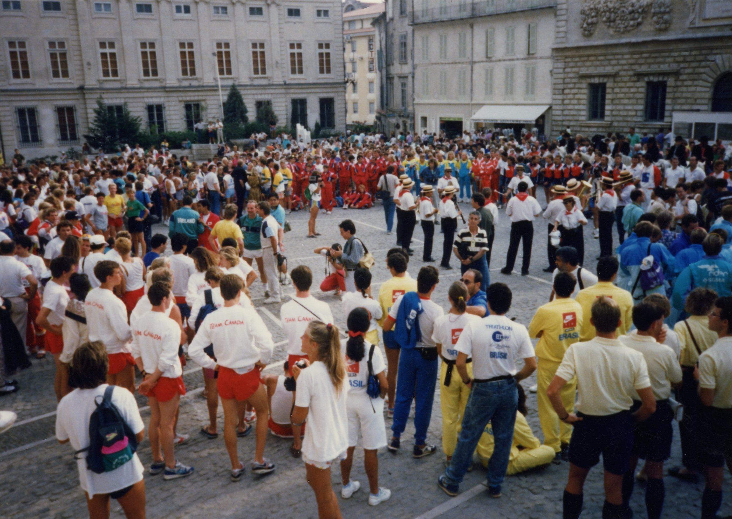 Triathletes outside the Palace.