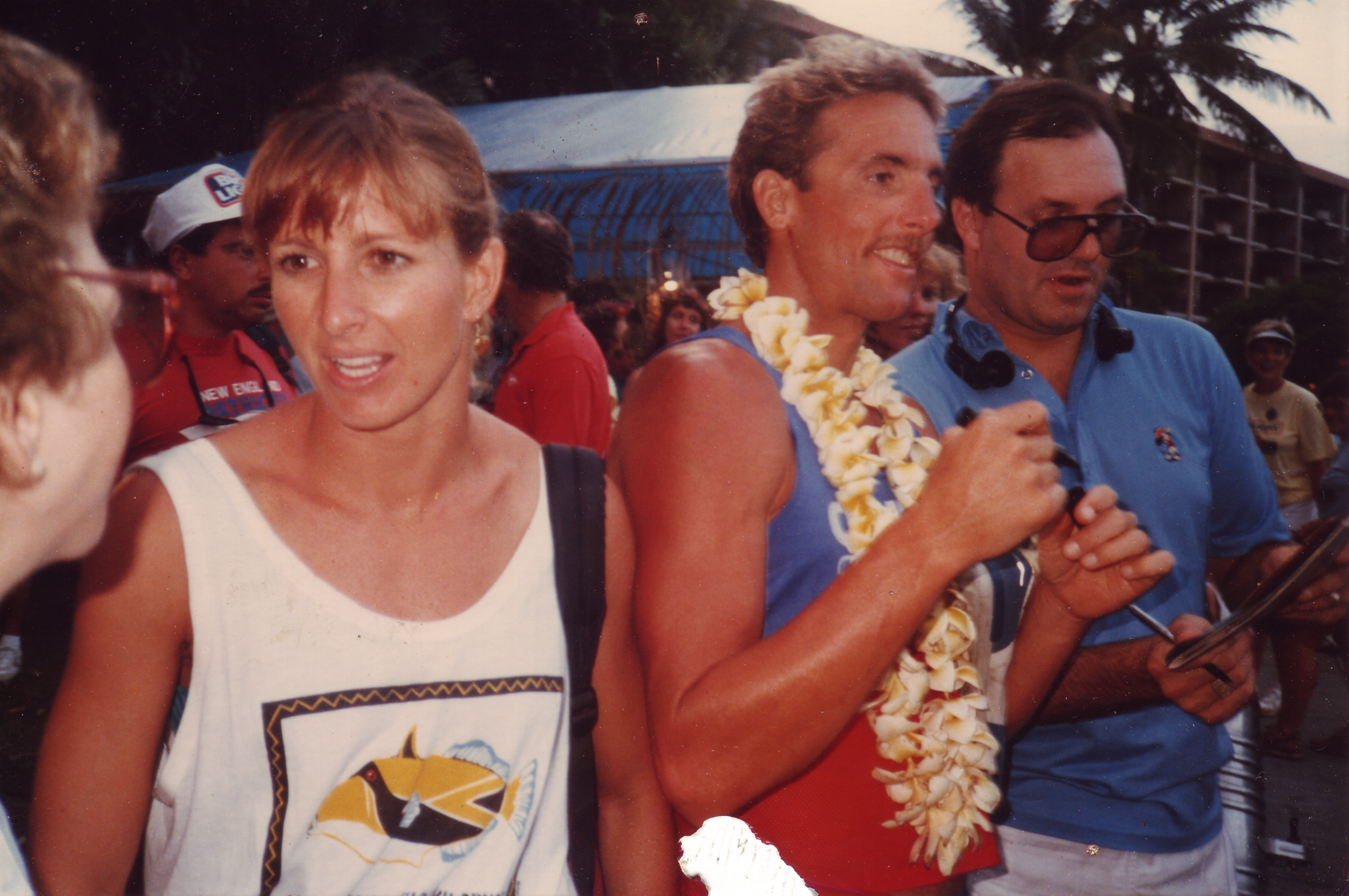 Six-time Ironman world champion Dave Scott and his wife at the finish of the 1985 Ironman.