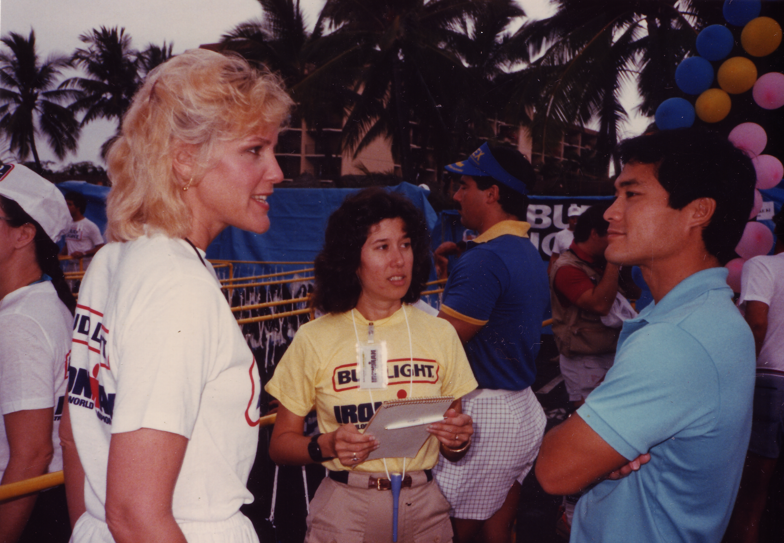 Valerie Silk and Earl Yamaguchi in the transition area of the 1985 Hawaiian Ironman.