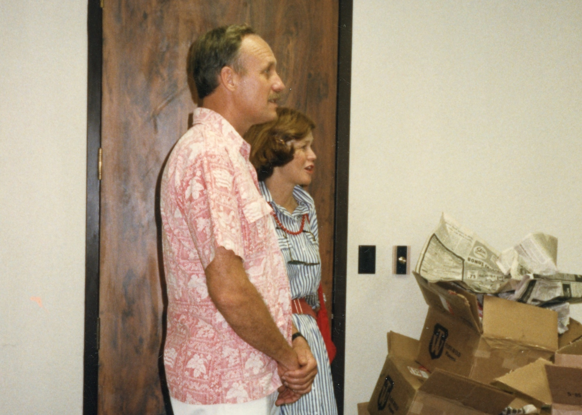 Ironman founder John Collins and his wife visit Ironman headquarters in Kona, 1985.