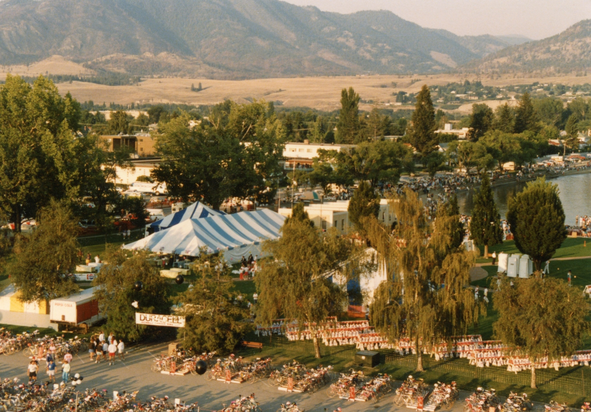 Ironman transition area, 1991, as seen from the top of the Delta Lakeside Resort