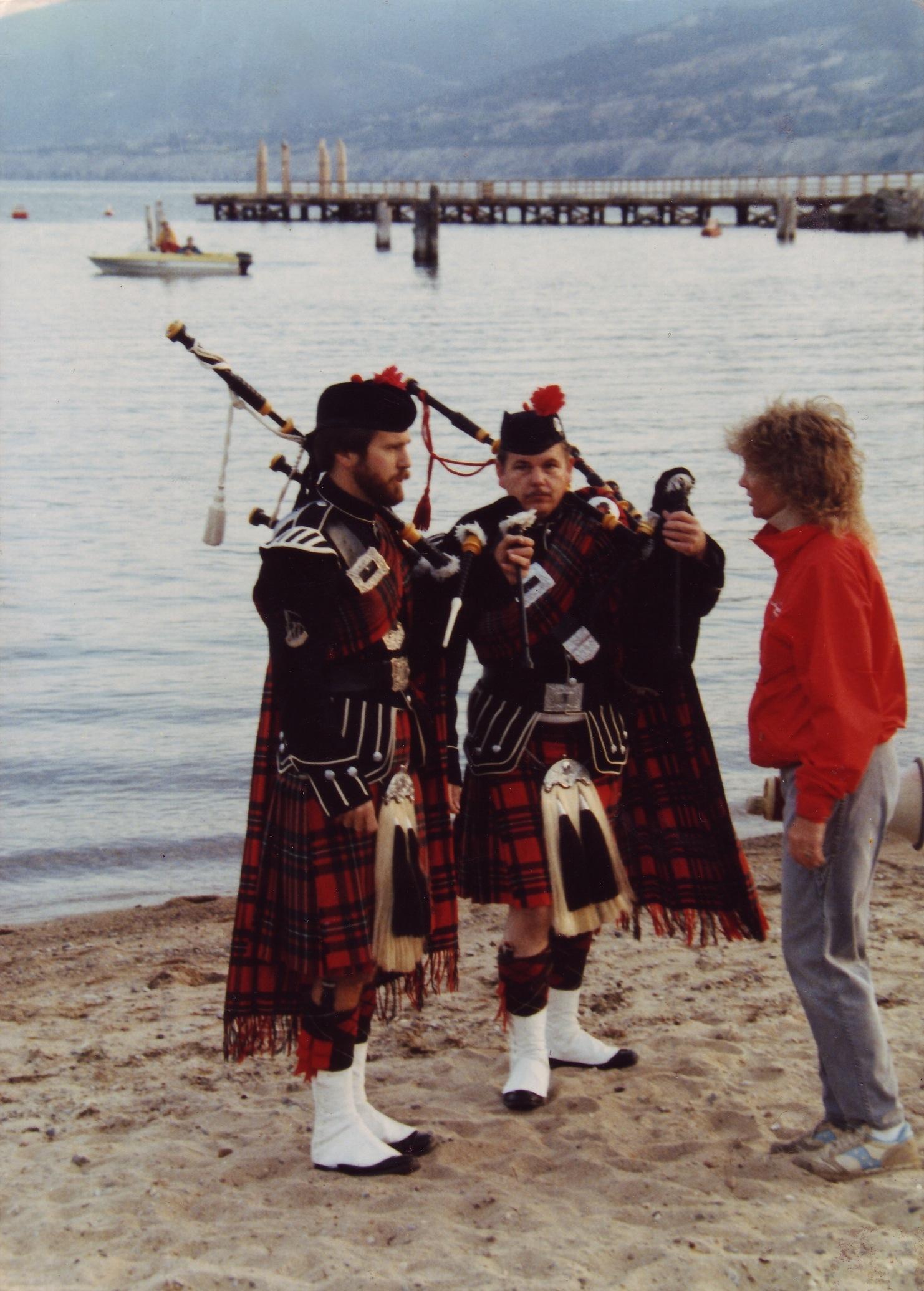Lynn directing Penticton Pipe Band members at the swim start, 1984.