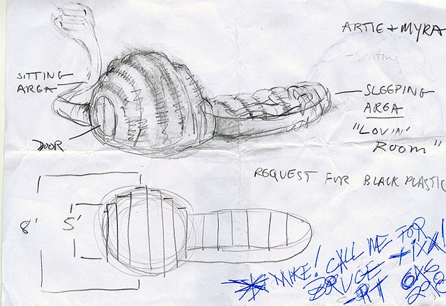 """Design process sketches for a shelter built for Artie, a 62-year-old homeless man living near Madison Square Garden. Artie often stands in line for concert tickets at the request of scalpers. For his  para SITE, Artie requested a domed sitting space for himself and his girlfriend, Myra, connected to a lower, intimate sleeping area for two, """"the lovin' room."""""""