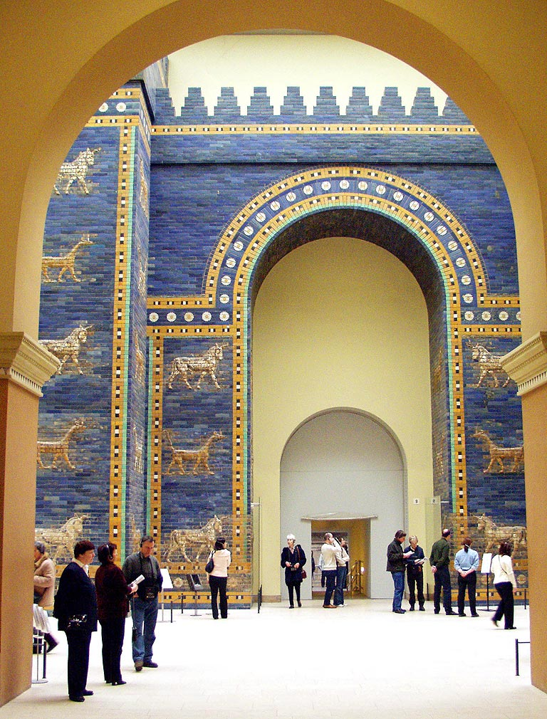 From 1899-1912, the Gate was excavated by a German archaeologist, Robert Koldewey transported to Berlin, where it was installed piece by piece in the Pergamon Museum. Missing bricks were reconstructed and included among authentic relics, to recreate the grandeur of the original.