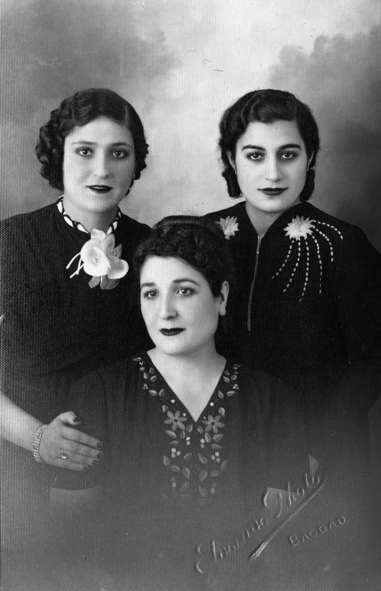 My grandmother, Renée Isaac David (Née Shamoon), center, with her sister Marcel, left, and her friend Leoni. Baghdad, Iraq, ca. 1940.