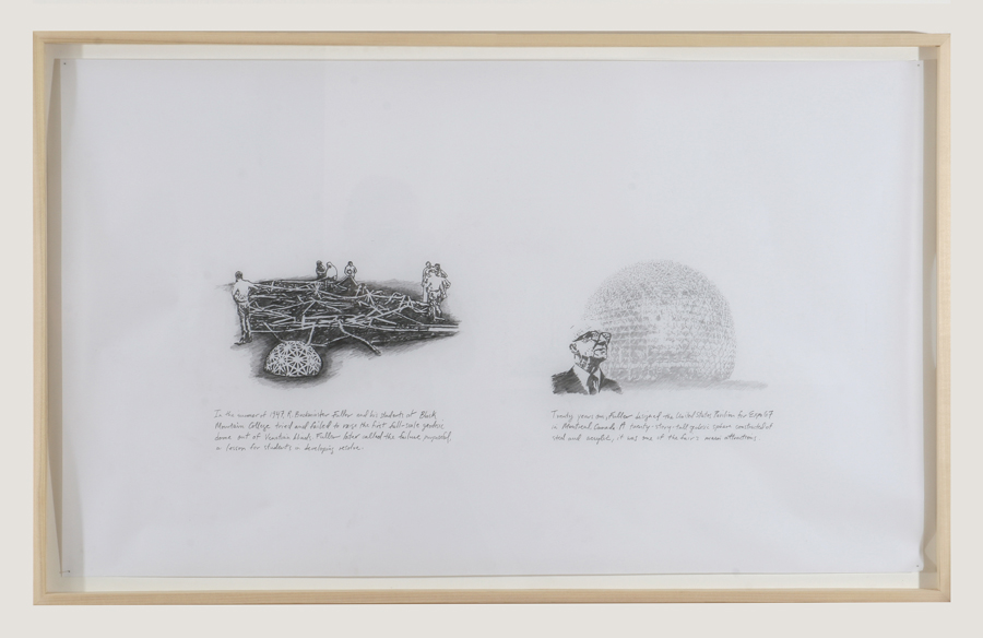 A series of drawings demonstrate the lineage of events, ranging from the failure of Buckminster Fuller's first full-size geodesic structure in 1948 at Black Mountain College; through the use of Expo 67's futuristic ruins as the backdrop for a sci-fi television show; and onward to the 2004 demise of the Montreal Expos, the baseball team that played in the infamous Stade Olympique, built for the 1976 Olympics but never completed.