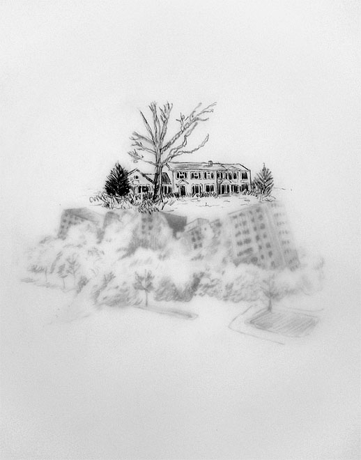 15 drawings depicting mansions built atop Pruitt-Igoe's ruins in Ladue, MO are displayed along the platform  (2 sheets of vellum each)