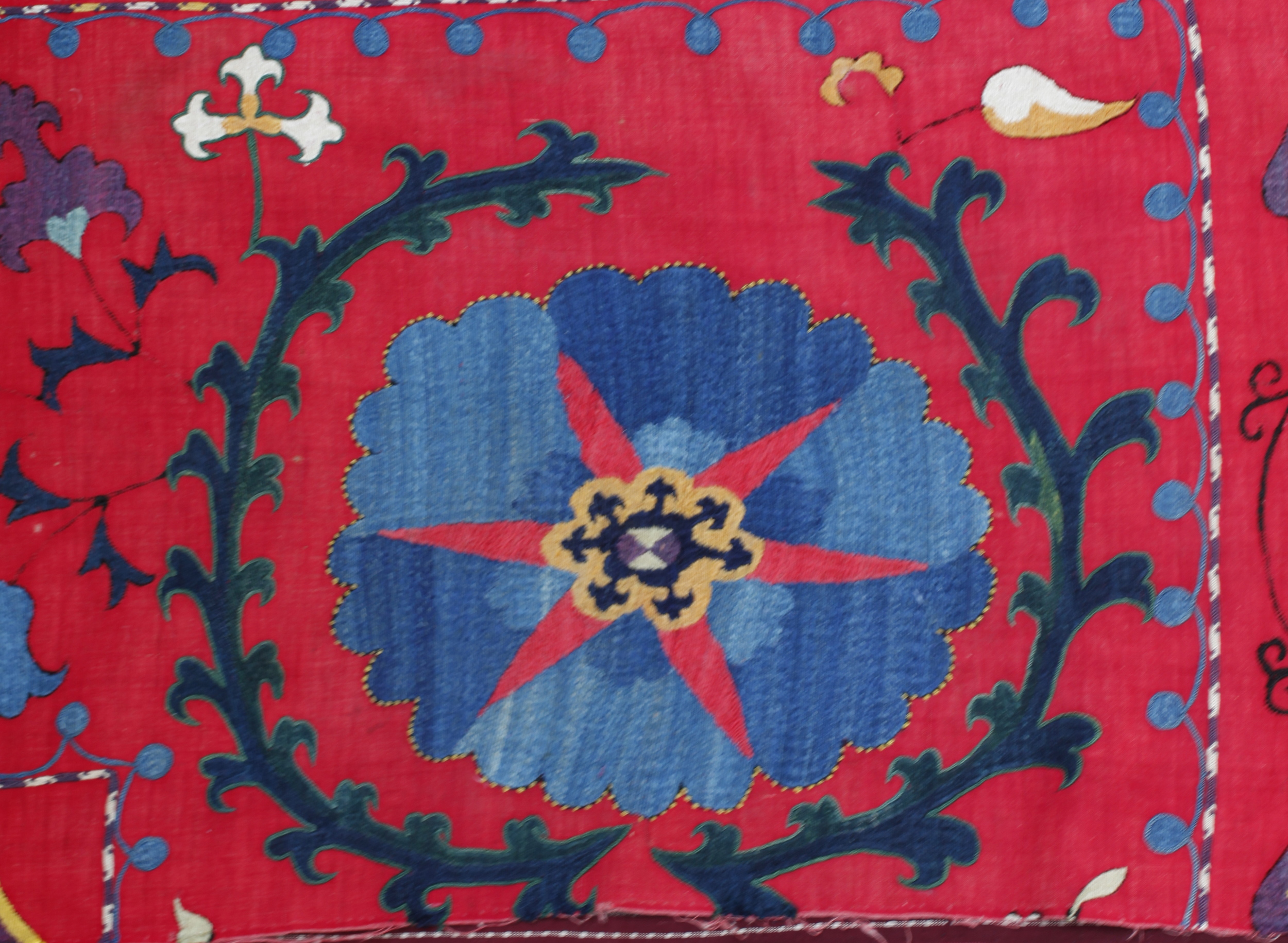 C19th Uzbek Indigo on red panel