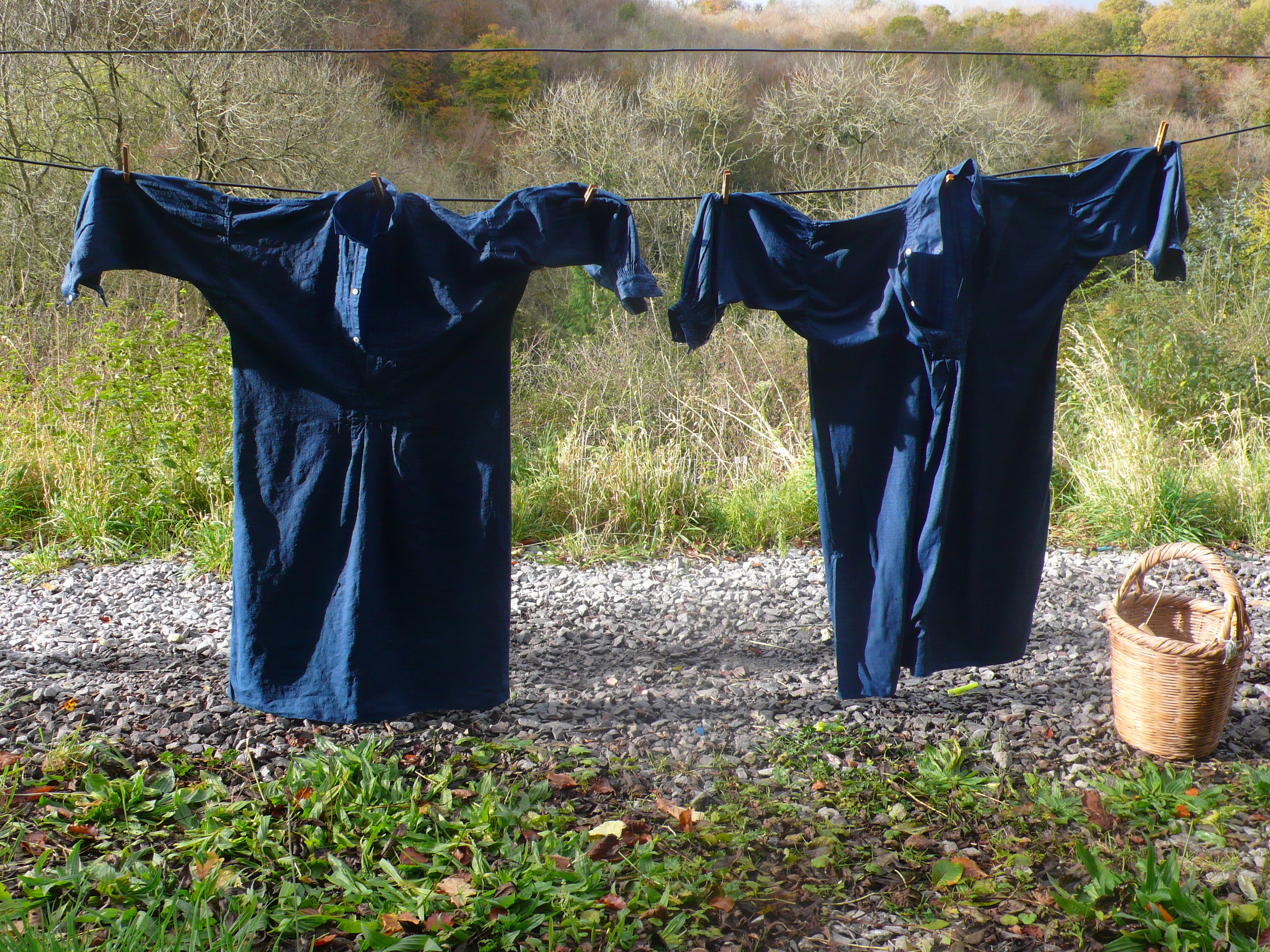 Antique French smocks drying after dyeing