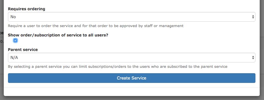 Configuring a service